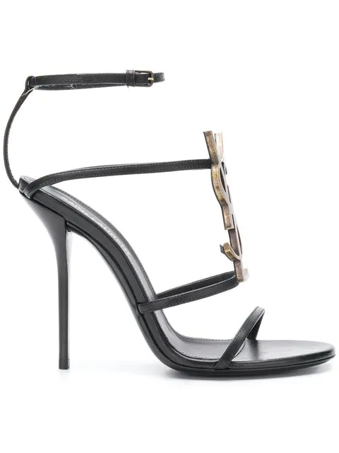 Saint Laurent Cassandra Black Leather Sandals With Ysl Monogram