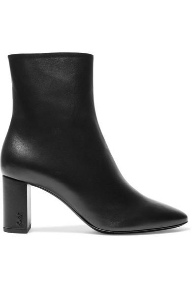 Saint Laurent Lou Leather Block-heel Booties Black
