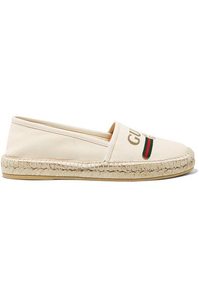 Gucci Leather-trimmed Logo-print Canvas Espadrilles In White