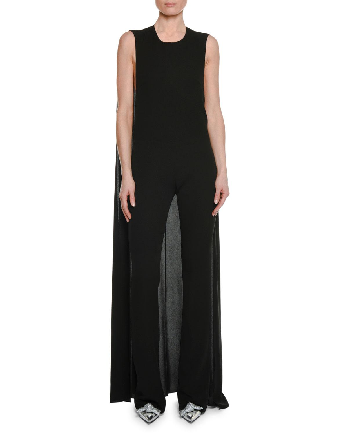 fad0a2be0e2f Tom Ford Sleeveless Straight-Leg Georgette Jumpsuit With Cape In Black