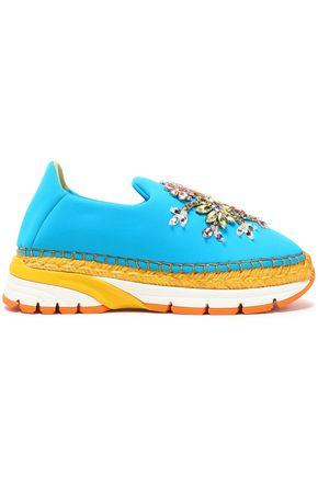 Dolce & Gabbana Neoprene Slip-ons With Espadrille Trainer Sole And Crystals In Blue
