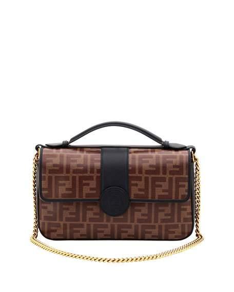 e15933e3ef93 Fendi Double-F Leather   Canvas Shoulder Bag - Black In Brown Black ...