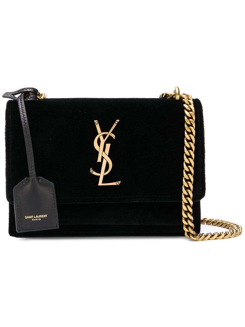 2ce60688902f Saint Laurent Sunset Monogram Ysl Small Velvet Chain Crossbody Bag In Black