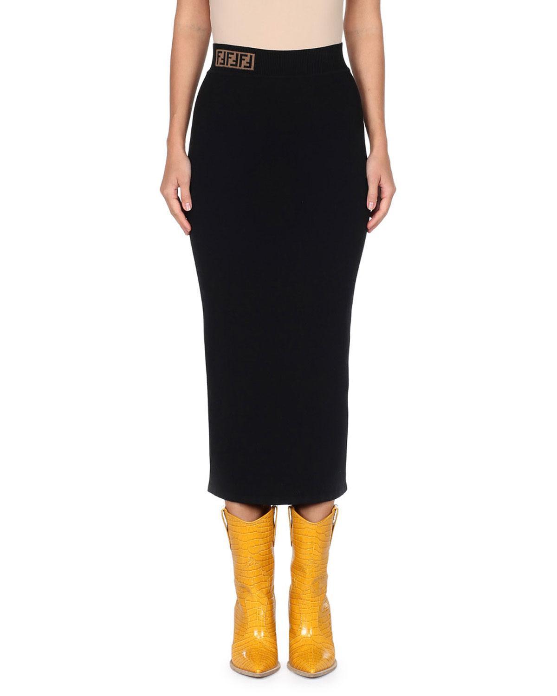 cbe5ea40832604 Fendi Stretch-Wool Cady A-Line Midi Skirt W/ Logo Waistband In Black ...