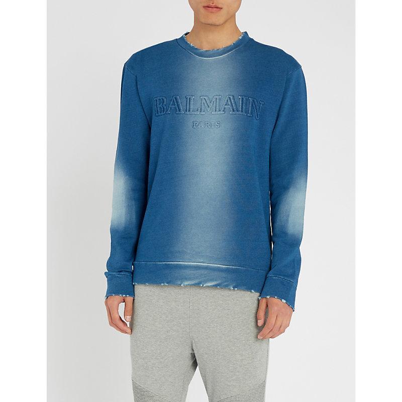 Balmain Slim-fit Distressed Logo-embossed Loopback Cotton-jersey Sweatshirt In Blue
