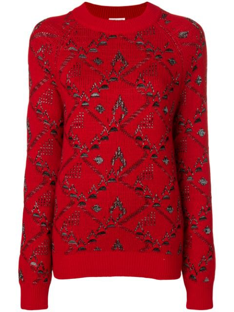 Saint Laurent Sweater In A Red Floral Jacquard Knit