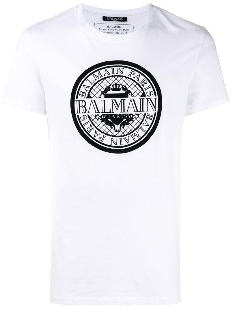 823271cf Balmain Logo Crest Printed Cotton Jersey T-Shirt In White | ModeSens