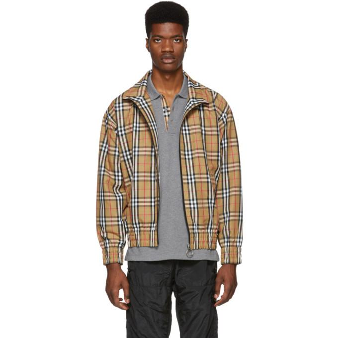 Burberry Vintage Check Gabardine Harrington Jacket In Antiqylw