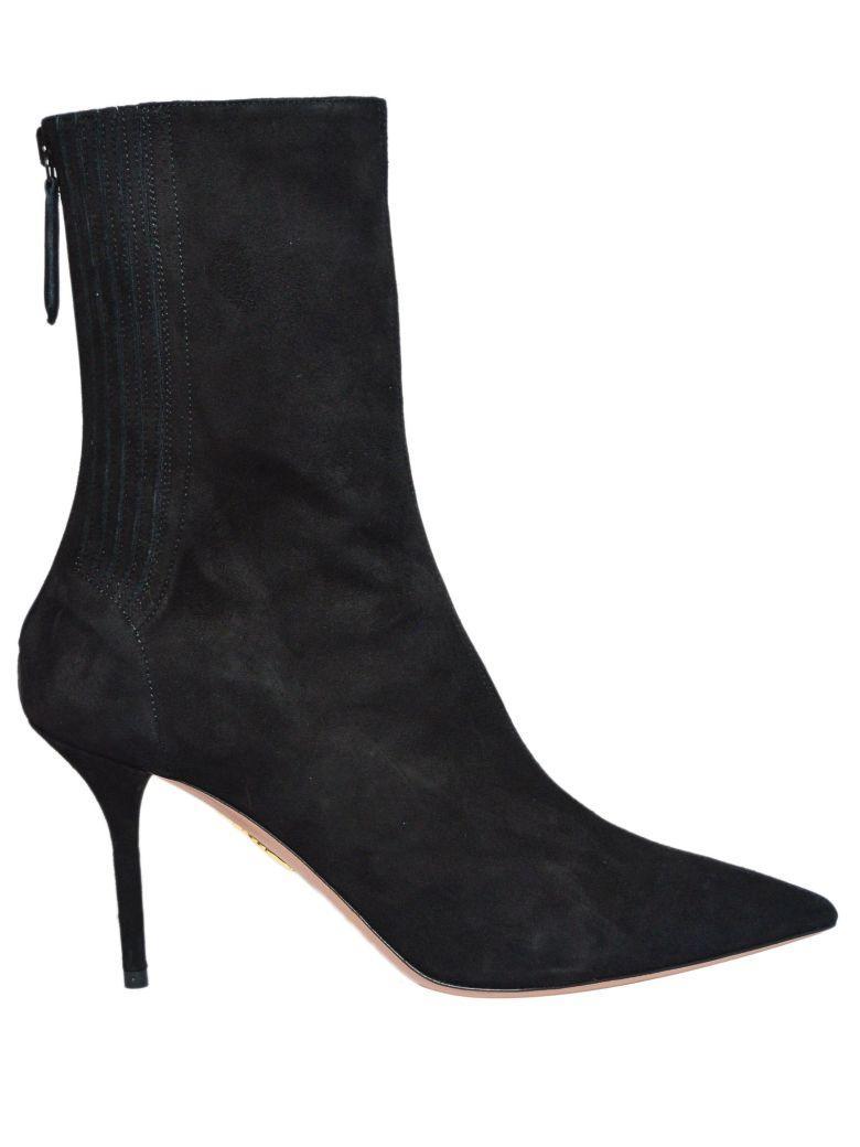 2f572319789 Aquazzura 85Mm Saint HonorÉ Suede Ankle Boots In Black