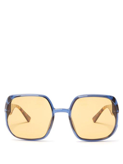 e95d0b0cf9405 Dior Eyewear - Nuance Square Frame Sunglasses - Womens - Yellow In  Multicoloured