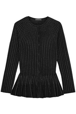 Alexander Mcqueen Contrast-stitching Peplum-hem Silk-blend Cardigan In Black