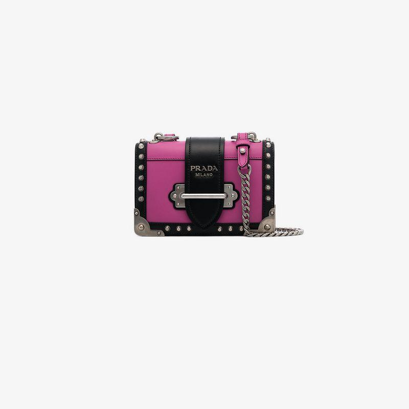 a9b92c6906 Prada Small Cahier Studs City Crossbody Bag In Pink   Purple