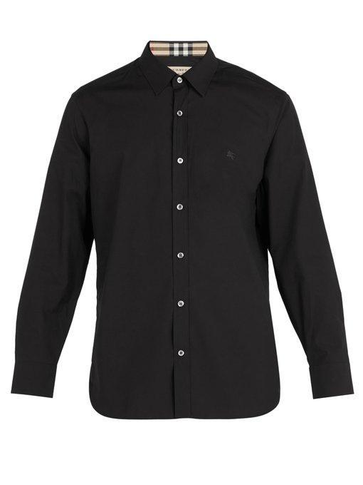 3e0386b9 Burberry Men'S William Signature Check-Facing Sport Shirt In Black ...