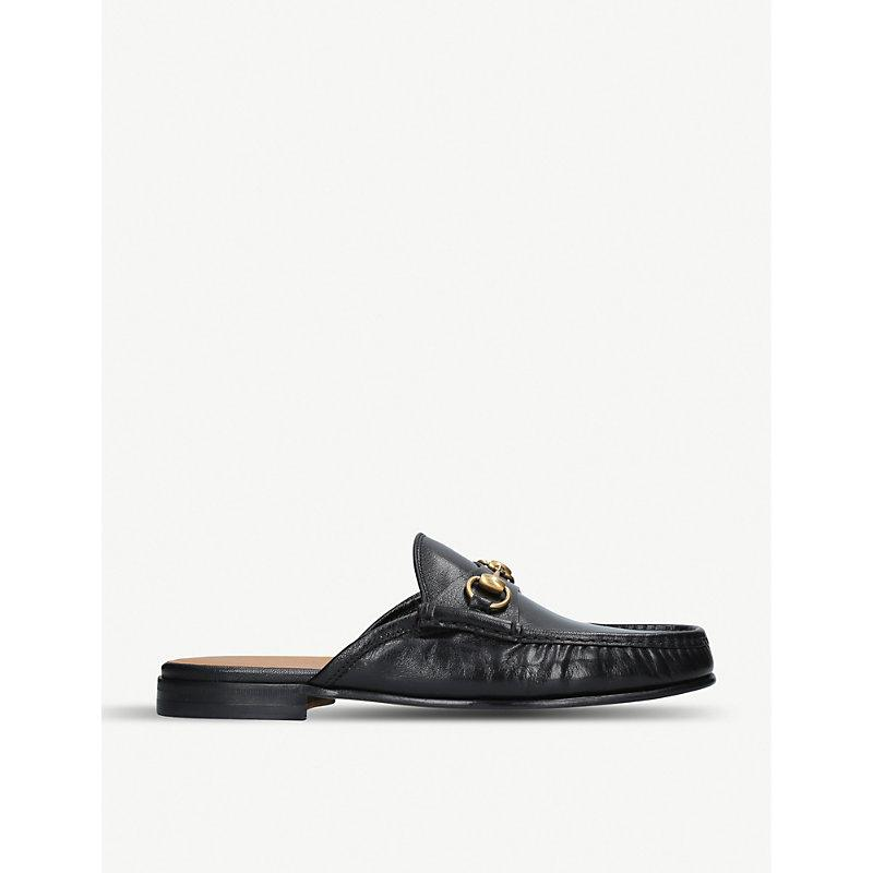 a287525cc Gucci Open Roos Horsebit Leather Backless Loafers In Black | ModeSens