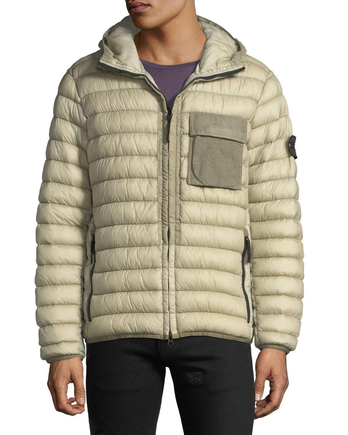 2924f3adf Stone Island Men's Quilted Lightweight Down Jacket In Charcoal ...