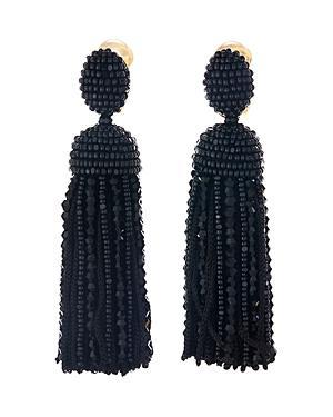 abd479fb0 Oscar De La Renta Short Clip-On Bead & Silk Tassel Earrings In Black ...
