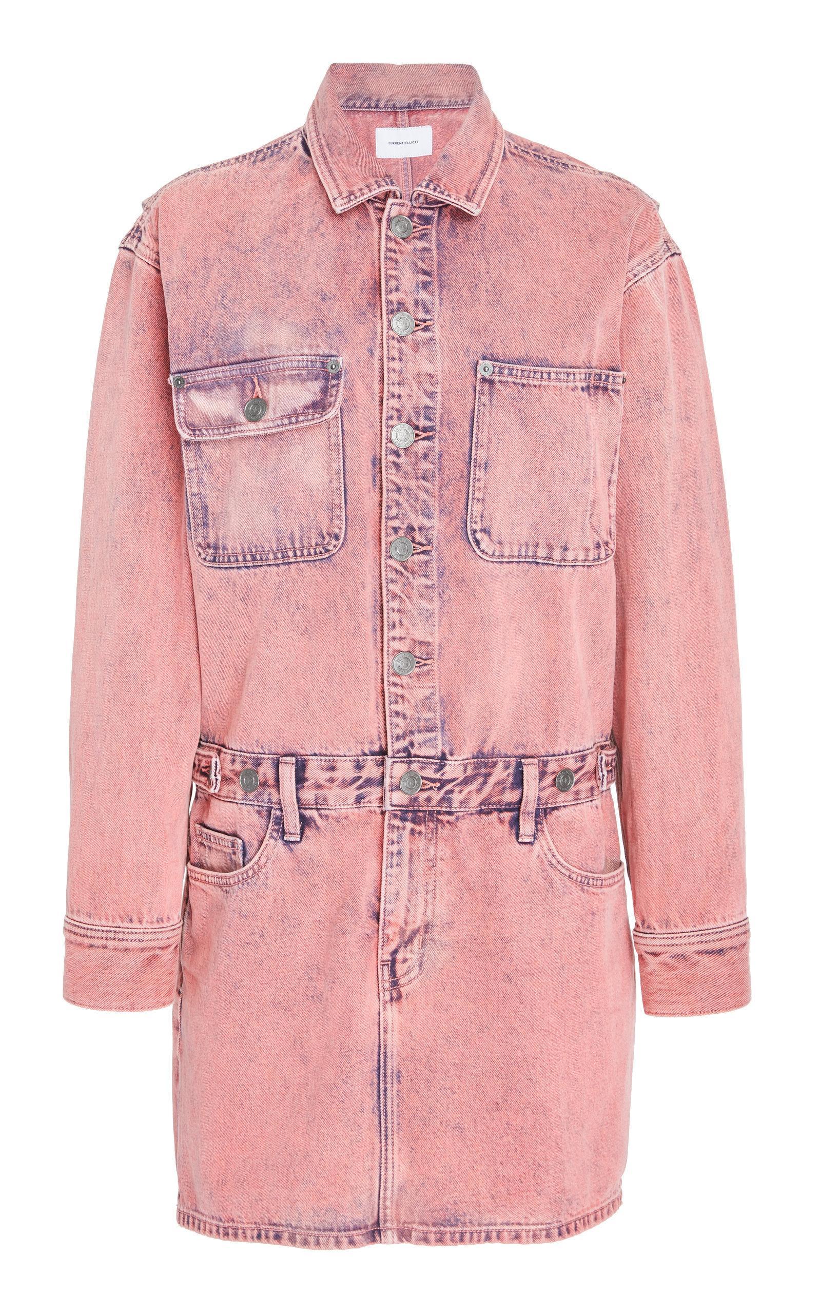 f68001f55e Current Elliott The Jumpsuit Long-Sleeve Denim Dress In Pink