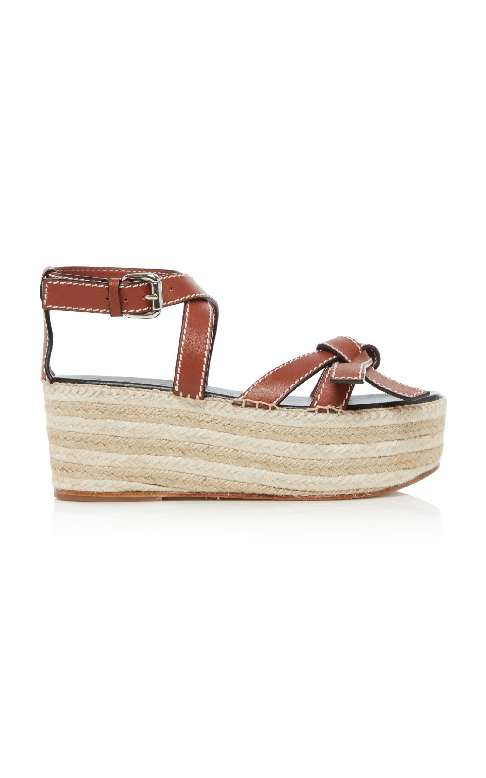 Loewe Gate Topstitched Leather Espadrille Platform Sandals In Brown