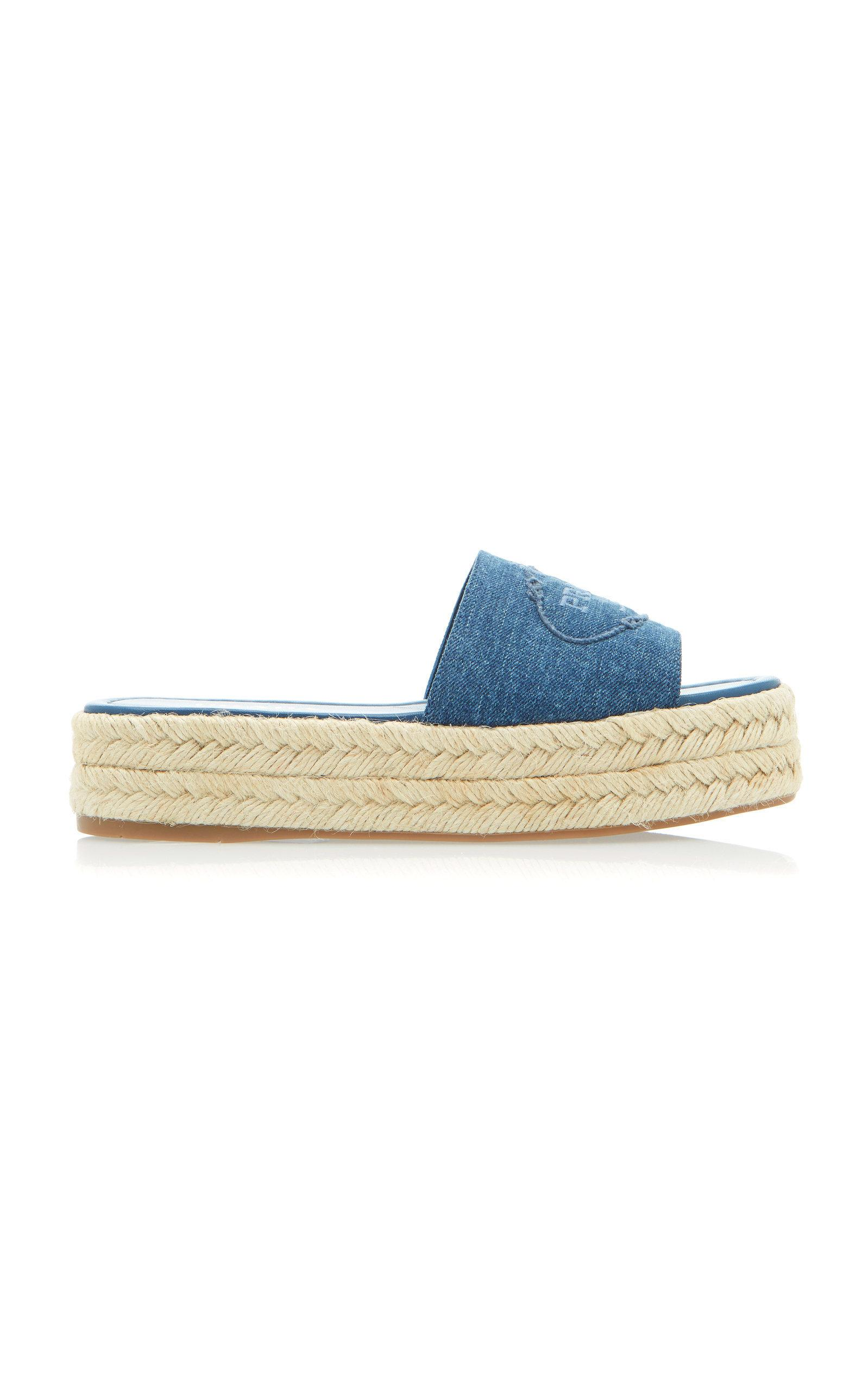 244cf7cbd Prada Embroidered Denim Espadrille Platform Slides In Mid Denim ...