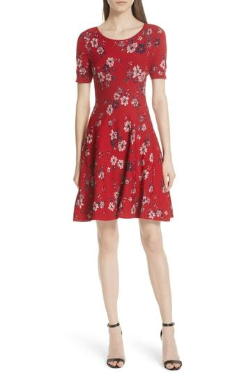 2e37037261663f Milly Twilight Floral-Print Fit-And-Flare Dress In Scarlet Multi ...