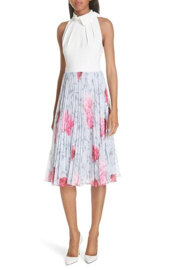 7a285b9ba9 Ted Baker Cornala Babylon Print Pleated Chiffon Skirt Dress In Grey ...