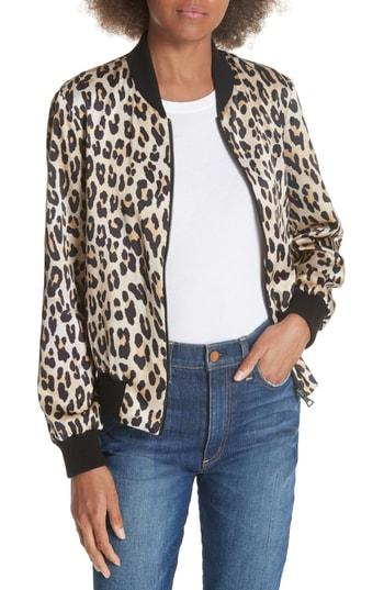 645565944e65 Alice And Olivia Lonnie Reversible Leopard Bomber Jacket In Hazy Floral  Wine/Textured Leop