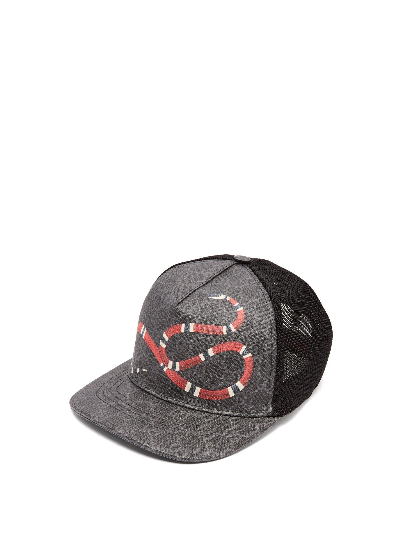 97a668c2 Gucci Snake-Print Coated Canvas & Mesh Trucker Hat In Black   ModeSens