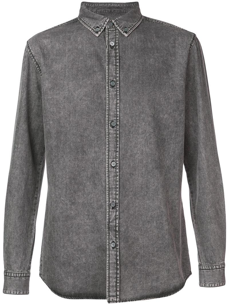 Givenchy Washed Denim Shirt In Grey