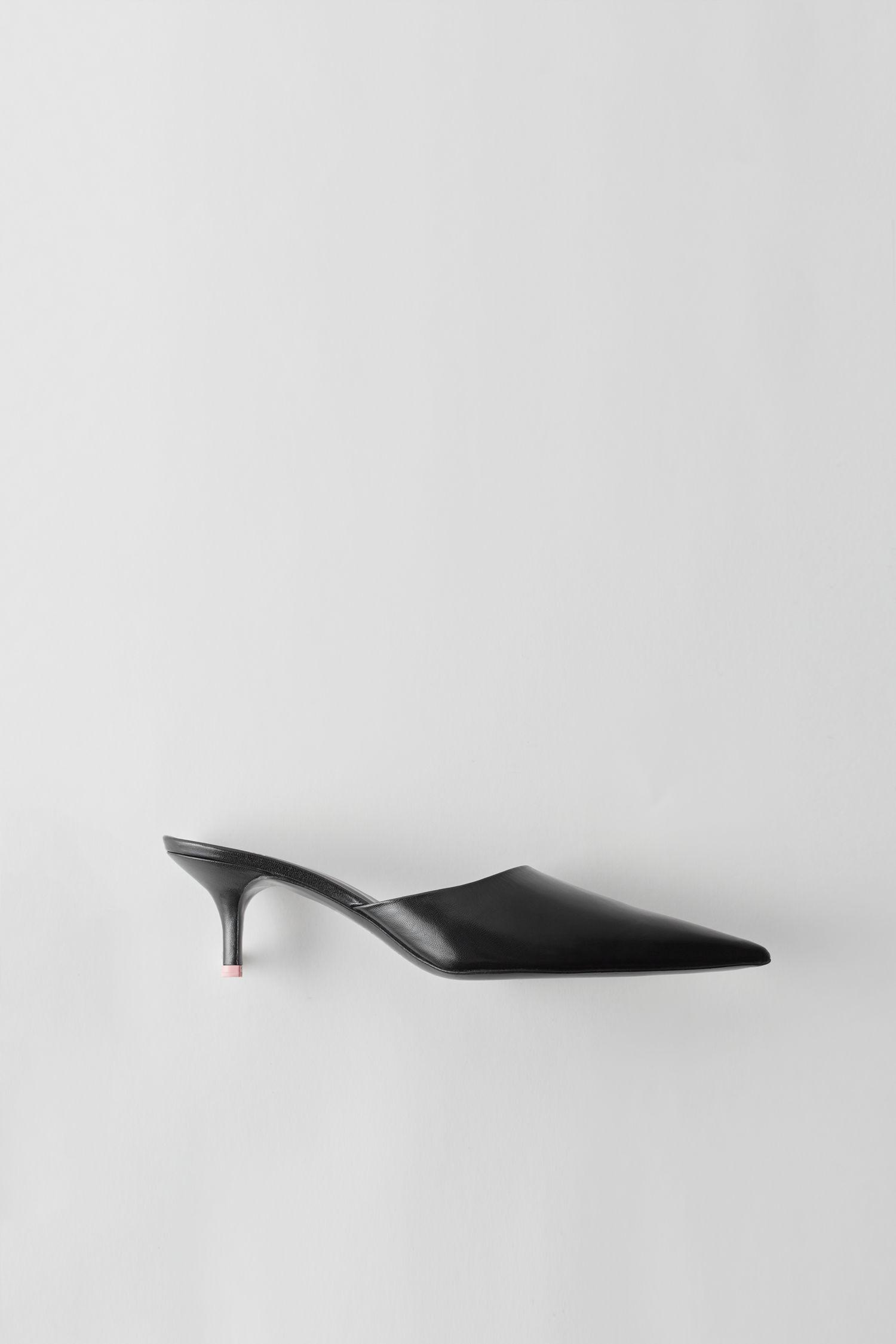 c6b5a4147 Acne Studios Black Offset Kitten Heel Mules | ModeSens