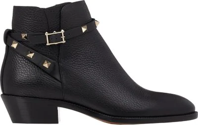 Valentino 20Mm Rockstud Leather Ankle Boots, Black
