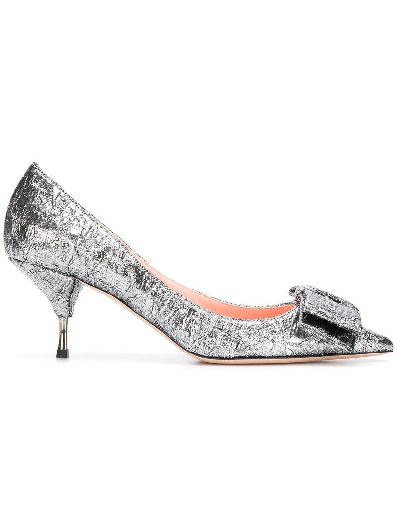 df0ff9b9f1a Rochas Miki Brocade Pumps With Bow In Grey