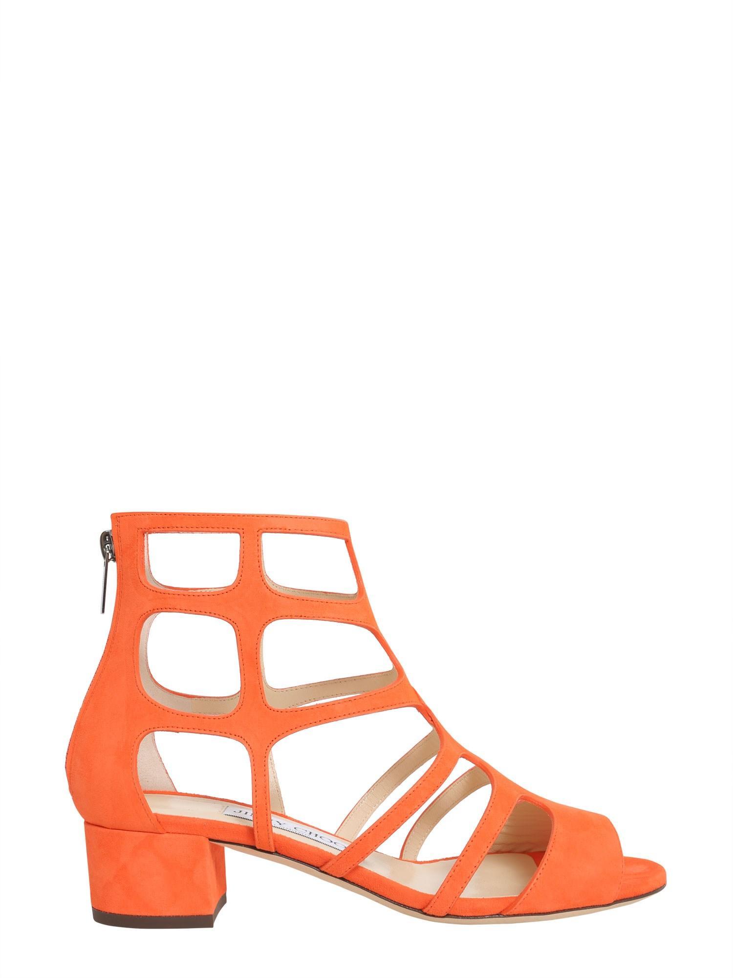 afcfb498c20 Jimmy Choo Ren Caged Suede Block-Heel Sandals In Orange