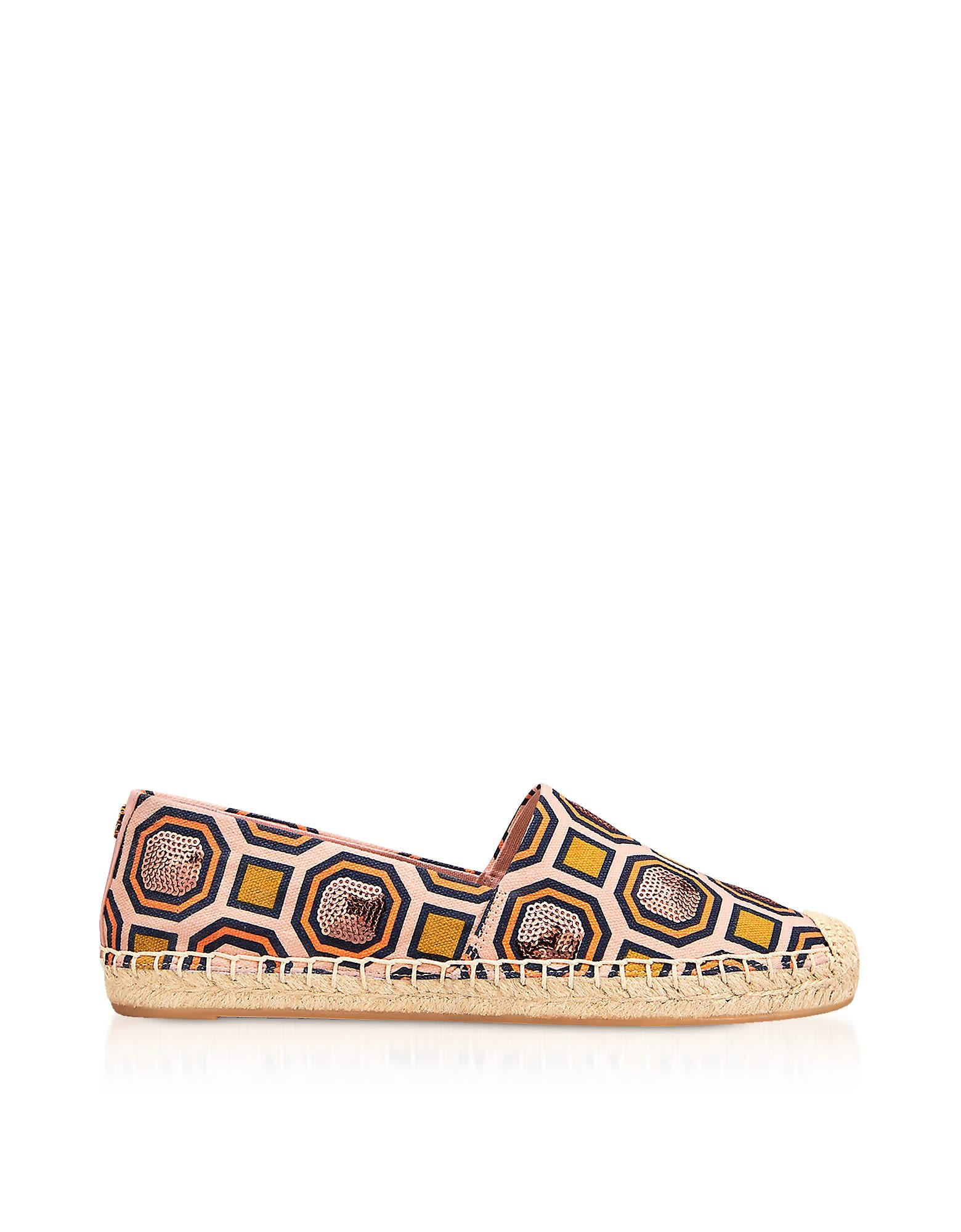 abd588e1c31 Tory Burch Cecily Ballet Pink Octagon Square Canvas Embellished Flat  Espadrilles In Multi