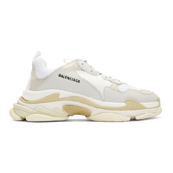 Balenciaga Triple S Mesh, Nubuck And Leather Sneakers In 9000 White