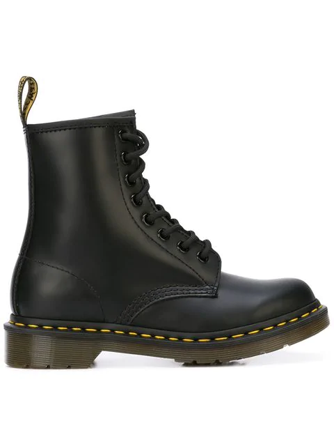 Dr. Martens 8-holes Combat Boot In Black Leather With Double Stitching