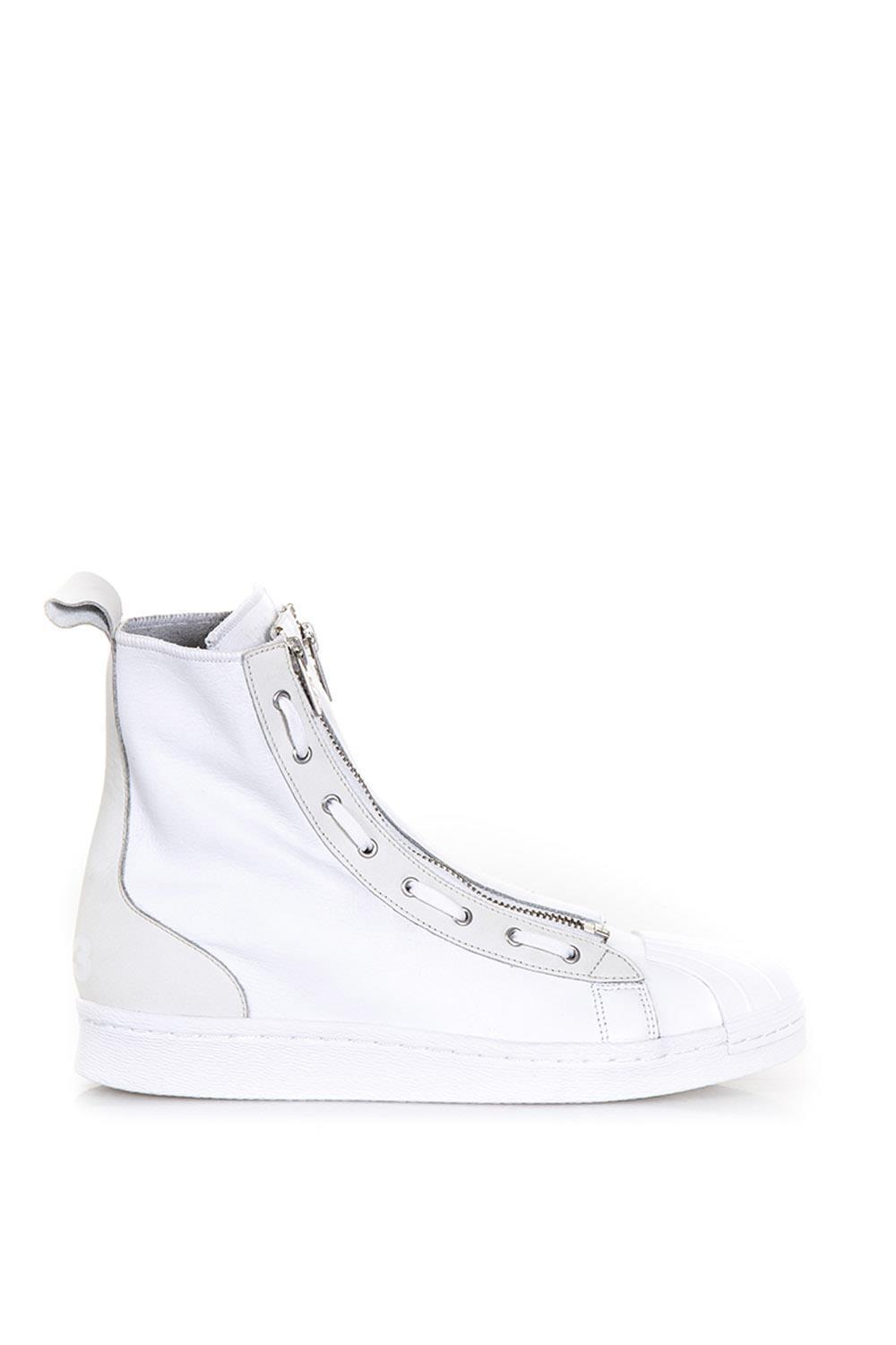 c5dfe77ac Y-3 Leather Super Zip High Top Sneakers In White
