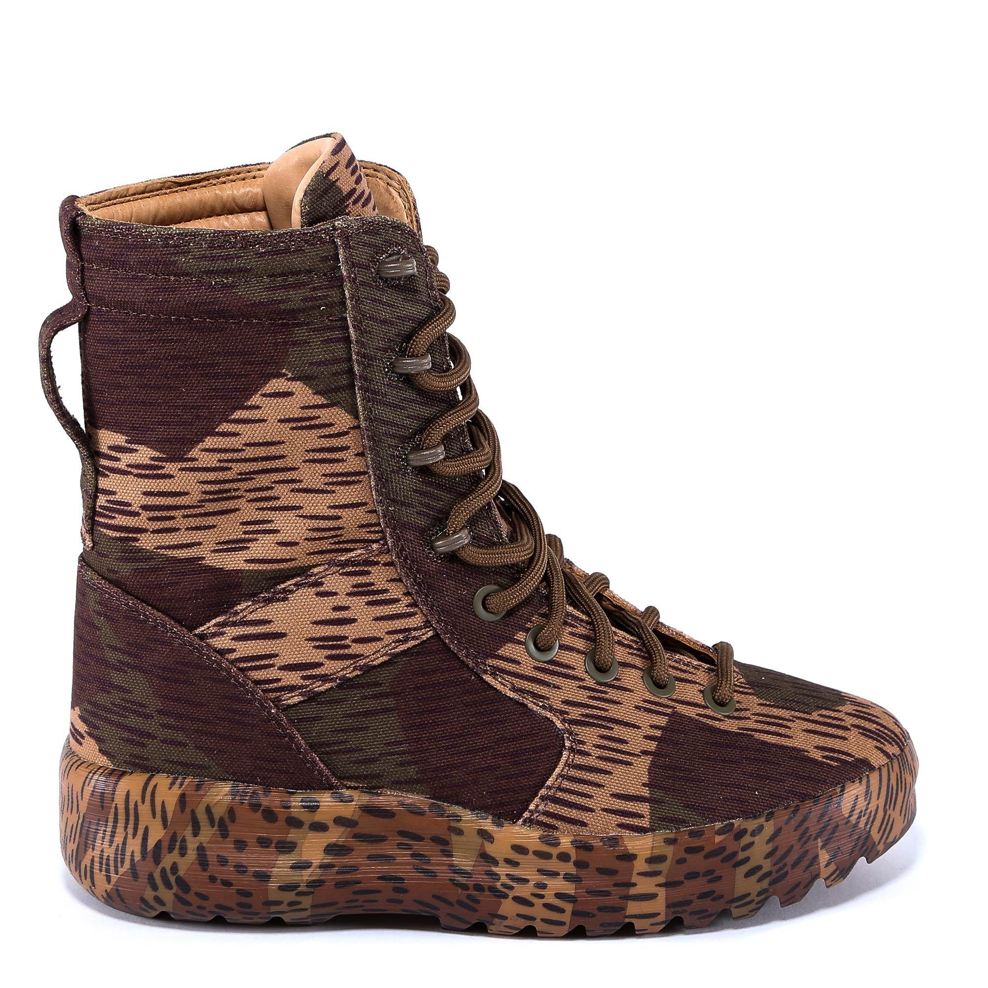 a65a1d79db7ad Yeezy Splinter Camo Washed Canvas Military Boots In Camo In Green ...