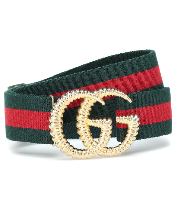 Gucci Logo Buckle Stripe Webbed Elastic Belt In Multicoloured