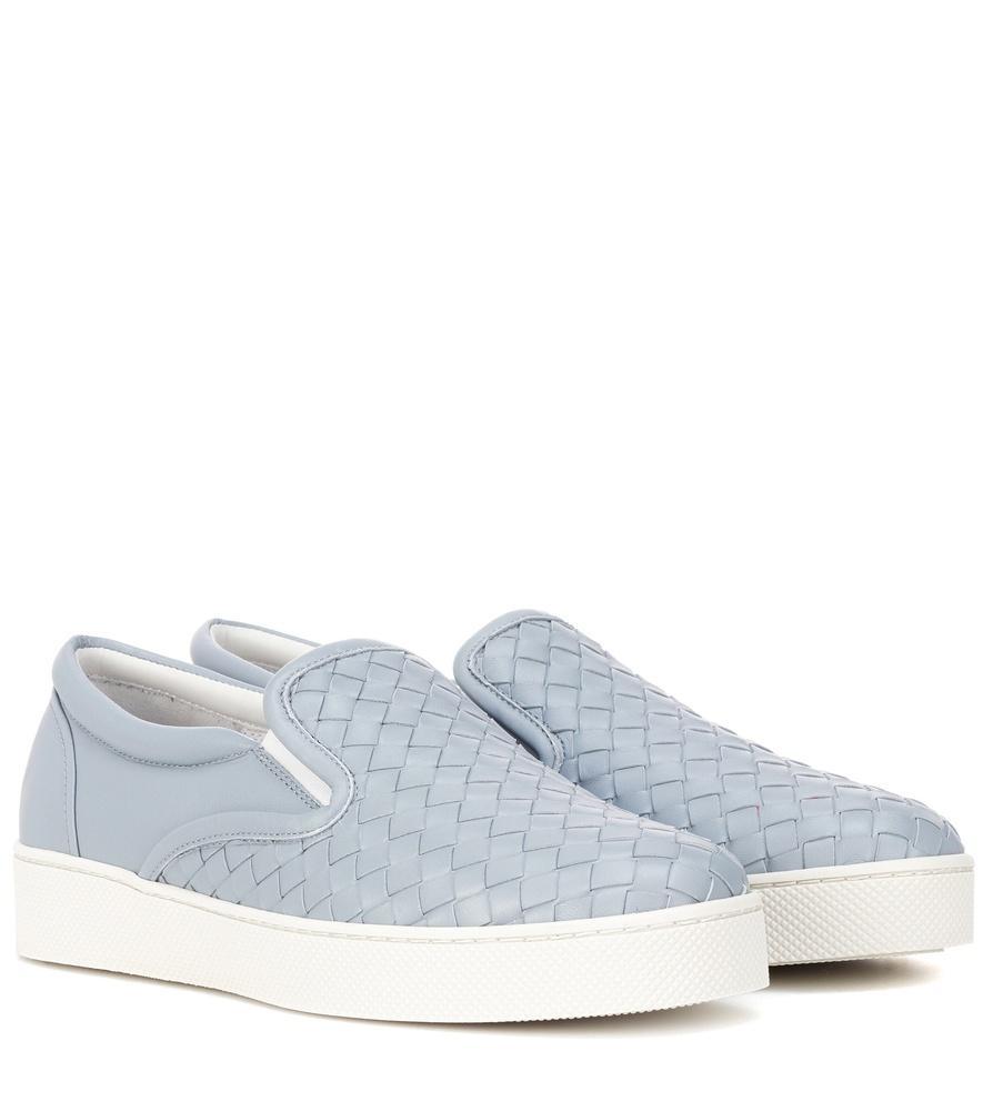 Bottega Veneta 编织皮革套穿式运动鞋 In Blue