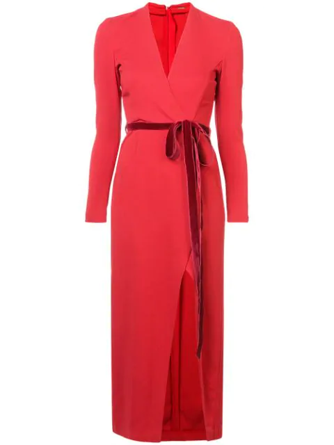 Adam Lippes Wrap-Effect Velvet-Trimmed Crepe Midi Dress In Red