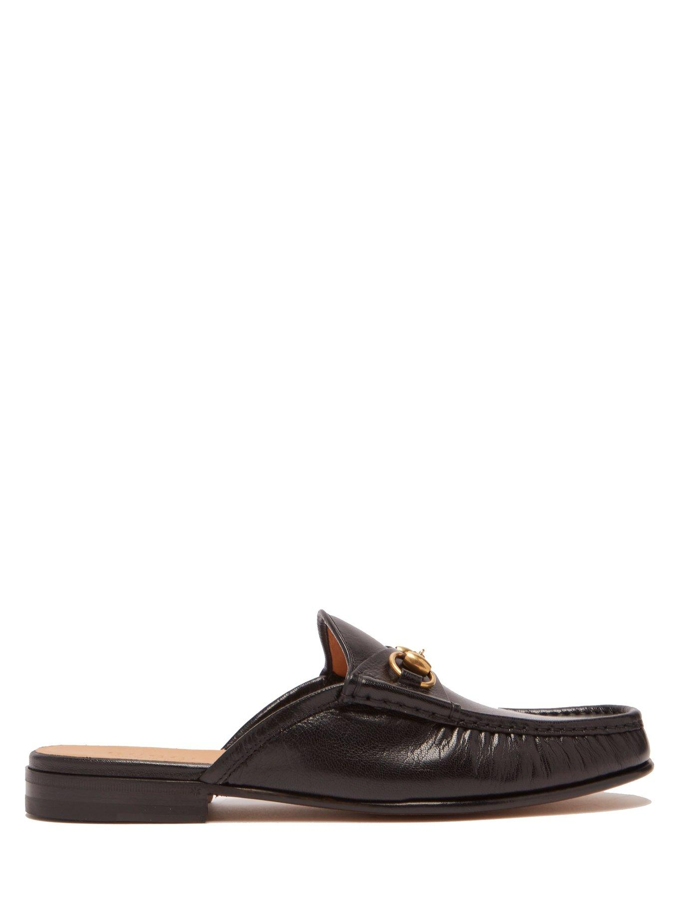 2b555dcf1 Gucci Open Roos Horsebit Leather Backless Loafers In Black | ModeSens