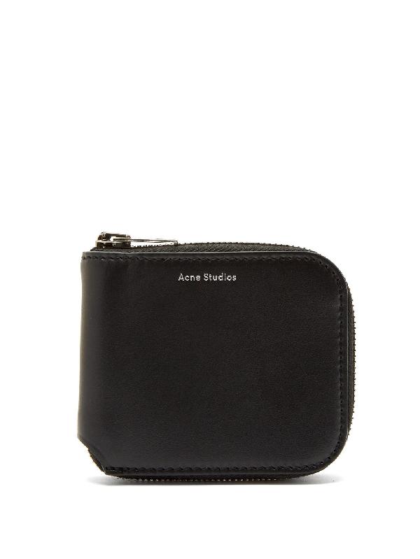 Acne Studios Csarite Leather Zip Around Wallet In Black
