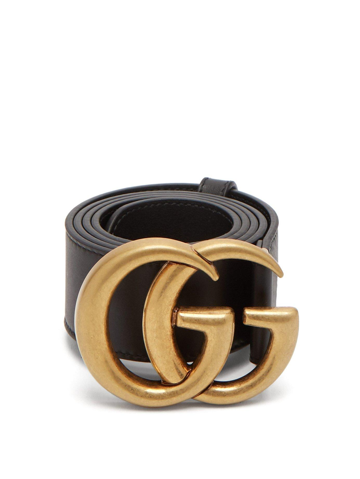 578fc88a59871 Gucci Leather Belt With Double G Buckle In 1000 Black | ModeSens