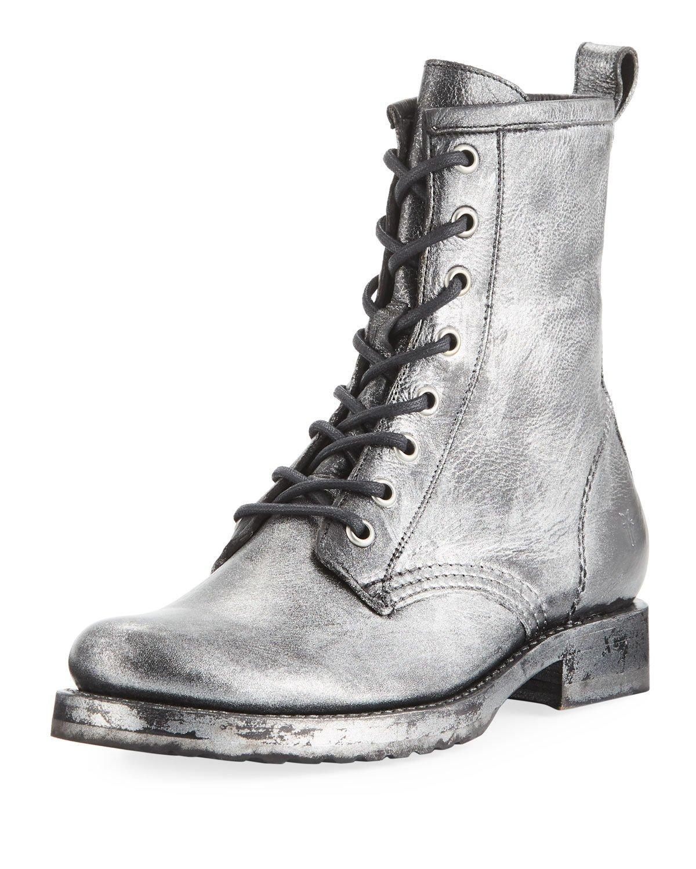 a690b8f36 Frye Women's Veronica Metallic Leather Combat Boots In Black Multi ...