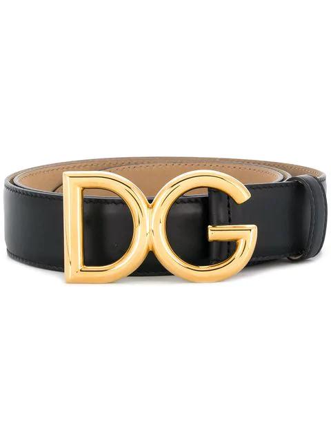 Dolce & Gabbana Dolce And Gabbana Black Dauphine Logo Belt In 80999 Black