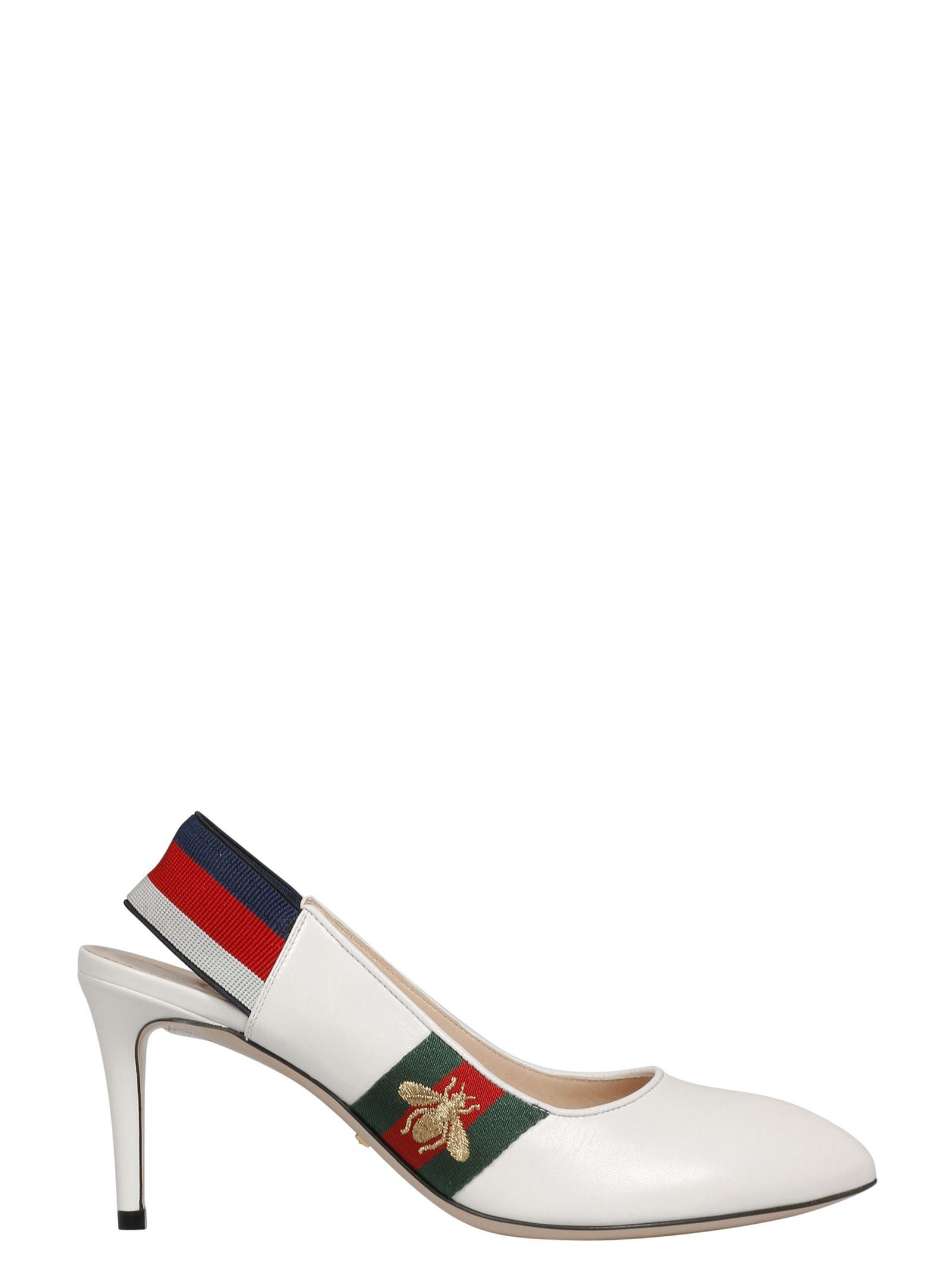 a0bfd612be3b Gucci Women s Sylvie Leather Web Mid Heel Slingback Pumps In White ...