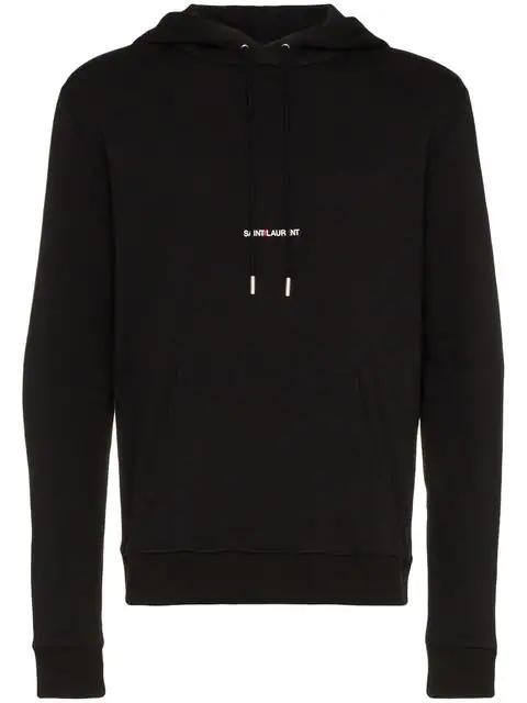 Saint Laurent Logo Hoodie Molleton Imprime Class Capuche Poch In Black