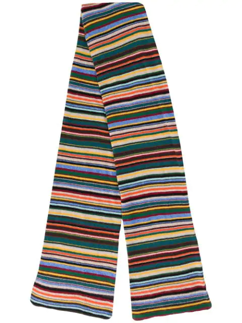 Ps By Paul Smith Striped Scarf In Brown