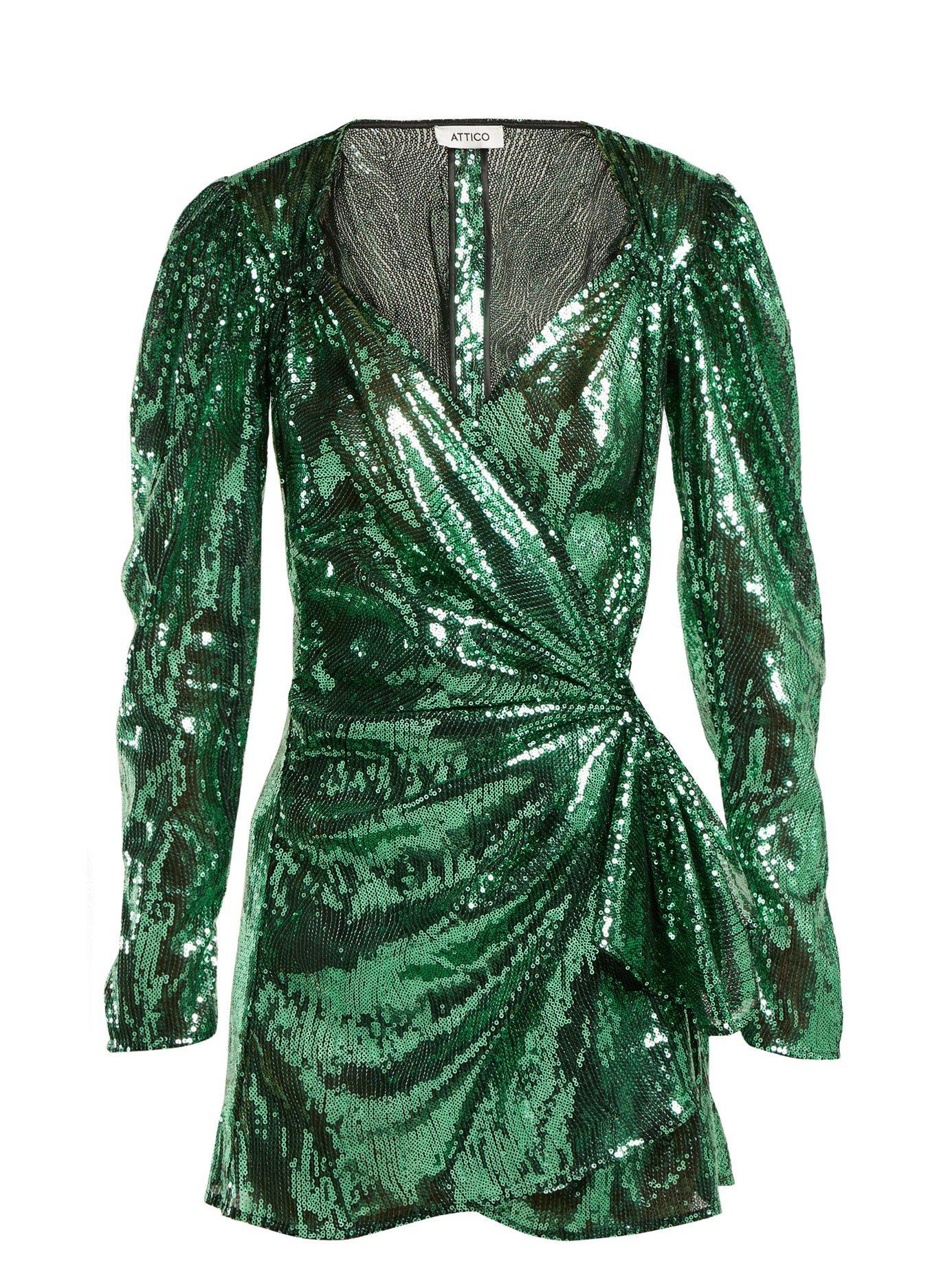 a8a7246cb5e Attico Sweetheart-Neck Long-Sleeve Sequin Mini Dress In Green | ModeSens