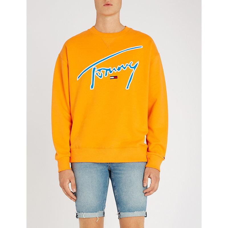 7b72b468 Tommy Jeans Signature Capsule Logo Front Sweatshirt Relaxed Fit In Orange -  Orange